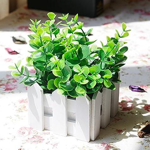 Lx.AZ.Kx Staccionata in legno di emulazione Kit fiore lasciare le decorazioni floreali un idilliaco di fiori di seta fiori secchi pentola piccola Ornamentsb)