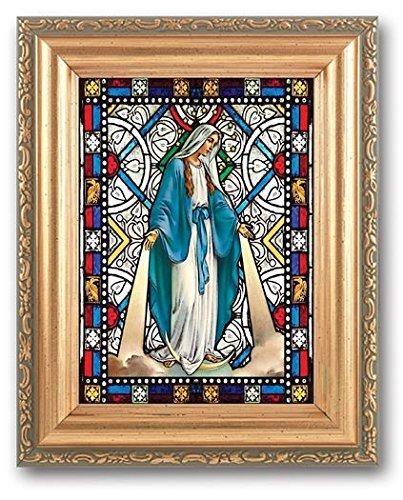 Bertof Our Lady of Grace Strukturierte Italienisches Art Glass in detaillierter Antik Gold Rahmen 4x 6Bild 5x 7Rahmen (5x7 Gold-antiken Rahmen)