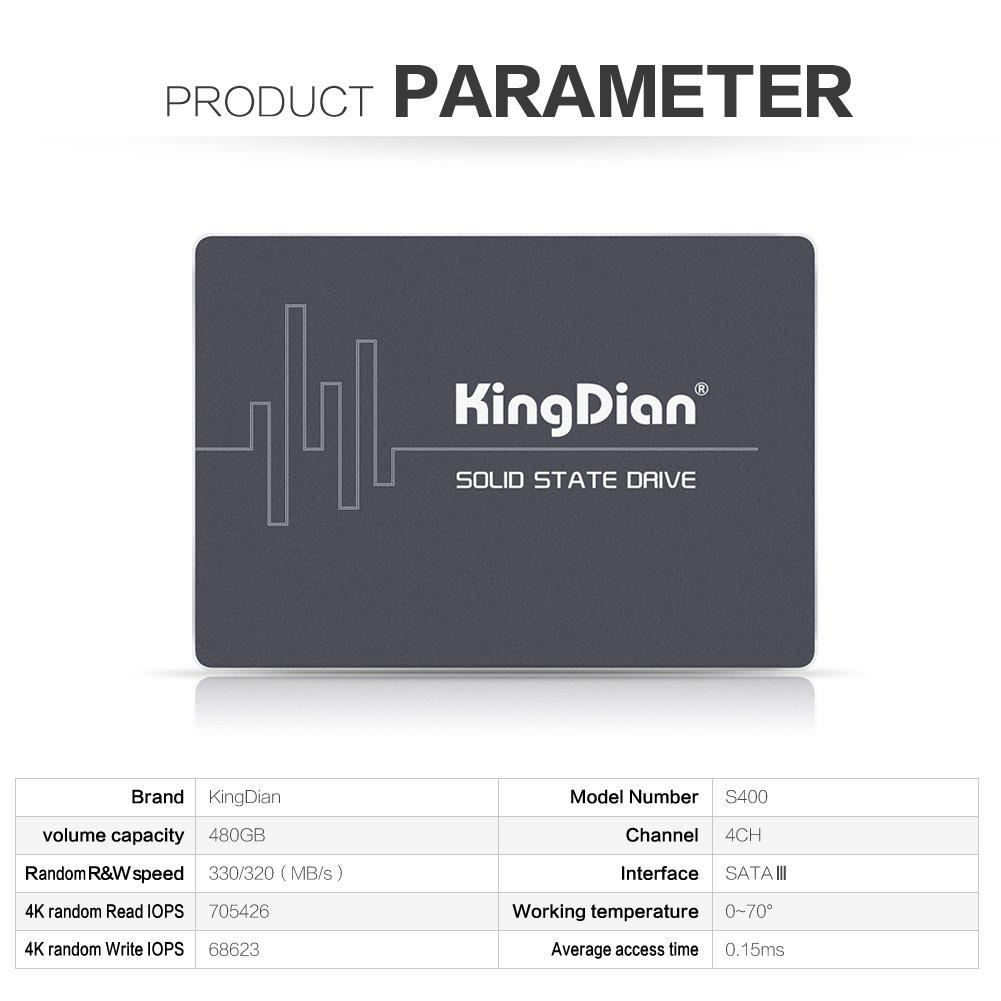 Disco duro KingDian con capacidad de 480 GB 2,5 pulgadas, interfaz SATA III para PC de sobremesa y MacPro (S400 480 GB)