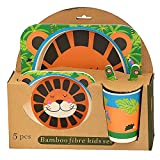 #10: CLOUD 9 Eco Friendly Natural Bamboo Fibre Animal Print Kids Dinner Set (Set of 5)(Multicolor,