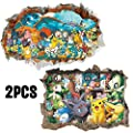 Kibi 2PCS 3D Pegatinas Pokemon Pikachu Wall Sticker Pokemon Go Pegatinas De Pared Stickers Pokemon Pared Adhesivo Pokemon por yiwu nanchi trading co.ltd