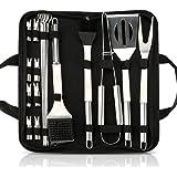CestMall Grilling Accessoires BBQ Gereedschap Set, 20 stks Heavy Duty RVS BBQ Grill Tool kit met anti-slip handvat & opbergta