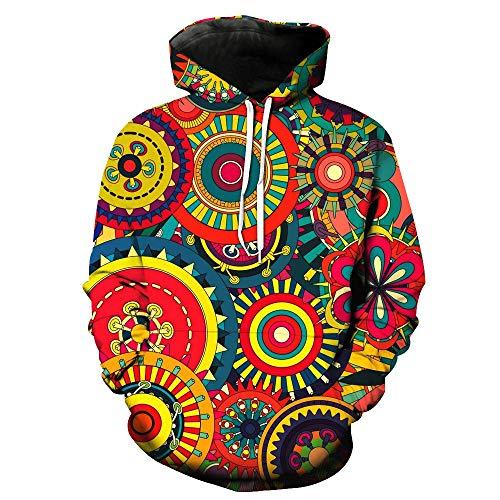 DNOQN Herren Slim Fit T Shirt Longsleeve Poloshirt Mit Brusttasche Herbst Winter 3D Drucken Langarm Kapuzensweater Top Bluse Mehrfarbig 4XL -