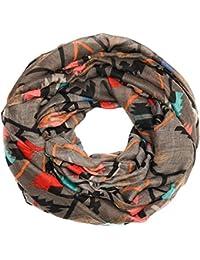 Kandharis Loopschal Schal Halstuch Schlauchschal für Damen Ethnic Geometrische Muster Streifen Musterprint Mehrfarbig Viskose LSG2