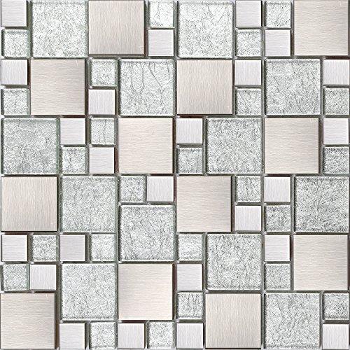Glas und Edelstahl Mosaik Fliesen Matte Silber mit Steinen in Zwei Größen Gebürstet und asiatische Struktur (MT0048)