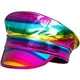 Boland 44737 Kapten hatt regnbåge, holografisk, regnbåge, parad, Christopher Street Day, dåligt smakparty, temafest, karneval