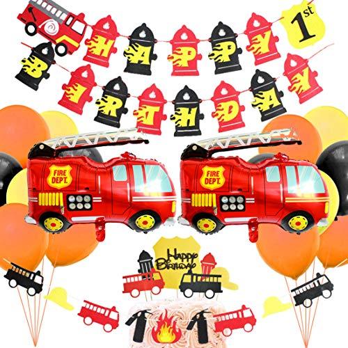 os Party Supplies - Feuerwehrmann Baby Shower Birthday Party Dekorationen - Happy Birthday Banner, Folienballons, Cake Topper ()