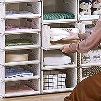 HyFanStr Plastic Wardrobe Organiser, Stackable Wardrobe Storage Organiser, Wardrobe Shelves for Closet (2 Shelves-44x33x12cm)