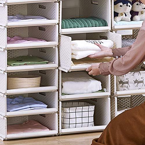Hyfanstr, organizer robusto per armadio, impilabile, portatile, ideale per guardaroba con maniglie (1 ripiano 44 x 33 x 12 cm), 1 shelf-l, beige