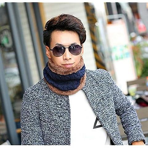 GAOYANQING Ola coreana sombrero del knit del parche de sombrero de lana a?adiendo la bufanda del sombrero de Cachemira chaqueta caliente los hombres con Cap al aire libre , 5