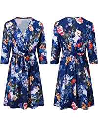 ab72c3561eff4 Frenchenal Femme Robe,Neuf Robe Longue Femme Manches Longues Tunique Col V  Fleurie Vintage Chic