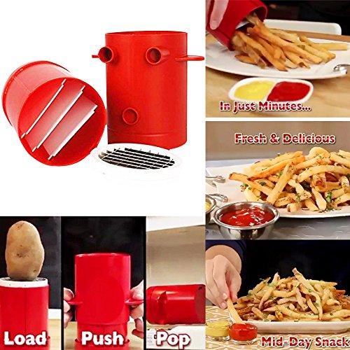 Runfon Kartoffelschneidemaschine, Pommes Frites einfach machen, Zuhase Essen schnell DIY, Pommes Frites Cutter Maschine Mikrowelle Container 2-in-1