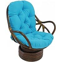 EXQULEG Coussin d'assise pour fauteuil à dossier bas - 120 x 60 cm - Pour chaises de jardin - Bleu ciel
