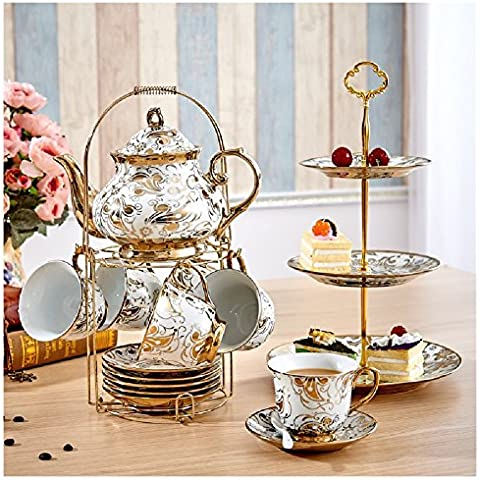 CU Tazas de café de cerámica de estilo europeo de la copa de leche set 6 taza de té tetera agujero filtro enviar estanterías de acero inoxidable,B