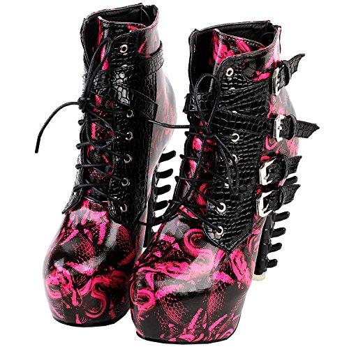 Voir l'établissement histoire Punk serpent noir impression lacets boucle OS talons plateforme bottines, LF80648 Hot Pink