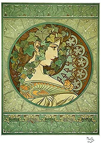 Alphonse Mucha Art Nouveau Ivy Print, Ready to Frame; Poster