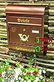 Großer Briefkasten Runddach R kupfer kupferfarben braun + Zeitungsfach Zeitungsrolle Postkasten
