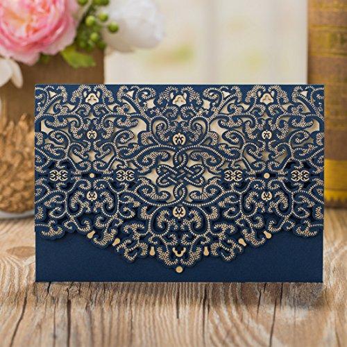 Wishmade 50 Stücke Blau Hochzeit Einladungen Karten Sets Spitze Lasercut Mit Horizontale Hohlen geprägte Flora Pearl Papier Einladung Cardstock Für Bridal Shower (Satz von 50pcs)