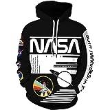 EUDOLAH Sweat à Capuche Homme Manche Longues 3D Imprimé Astronaute NASA Pull Sweat-Shirt avec Poche
