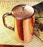 #10: Zafos Handmade Plain Copper Jug Pitcher Volume, 1300 ML, Capacity ( New Improved Design)