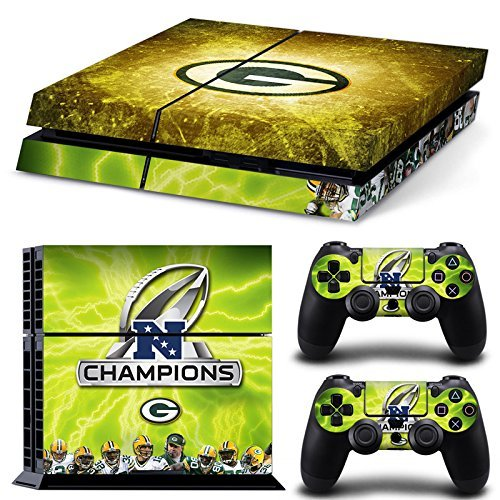 Hambur® PS4 Console Designer Skin for Sony PlayStation 4 System plus Two(2) Decals for: PS4 Dualshock Controller --- Green Bay Packers by Hambur
