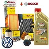 Kit Tagliando 4filtros aceite BOSCH + 5L Castrol EDGE 5W40
