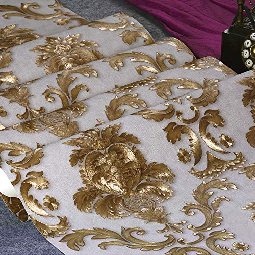 BIZHIGE Gold Damast Floral Wallpaper 3D Prägte Wasserdichtes PVC-Wandpapier Für Wohnzimmer Hotel...