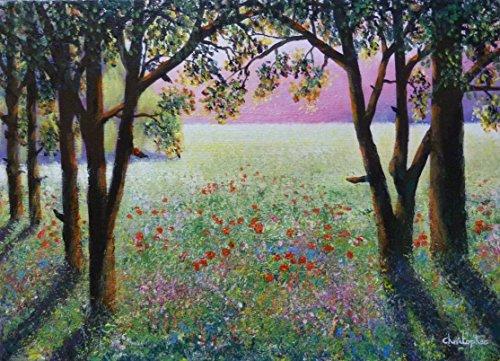 manana-soleada-35cmx25cm-pintura-arboles-luz-solar-espectacular-sombras-de-flores-silvestres