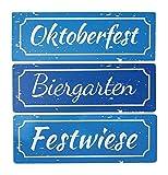 BO 3 Metallschilder Oktoberfest XL 30cm - 3 lustige Schilder zu Einem Preis, Oktoberfest, Festwiese und Biergarten