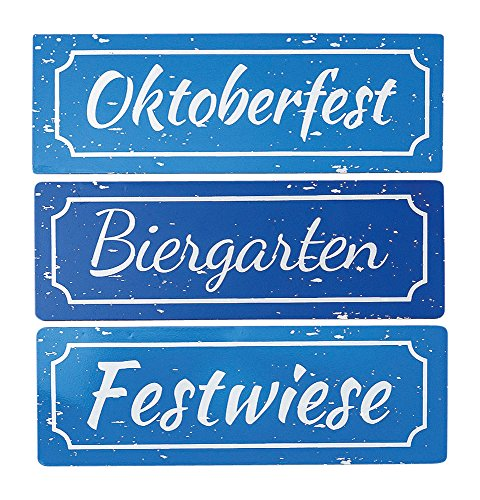 Oktoberfest Schilder Biergarten Festwiese Dirndl und Bua (Schilder 3 TLG.)