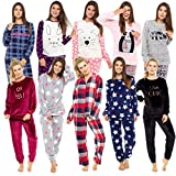 Style It Up Womens Ladies Animal Print Warm Pyjama Cosy Soft Fleece Nightwear Loungewear PJ