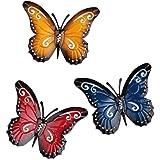 YiYa 3 Pièces Papillon en métal Un Groupe de Insectes Mignons colorés, pour accrocher Le Mur Art Jardin pelouse décor intérie