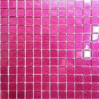 Klarglas Mosaik Fliesen Matte in dunklem Pink mit Glitzer. Verkleidung für Wände (MT0018) (1QM, 11 Matten))