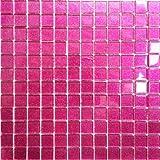 Klarglas Mosaik Fliesen Matte in dunklem Pink mit Glitzer. Verkleidung für Wände (MT0018) (1QM, 11 Matten)