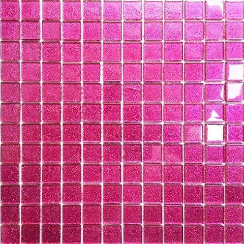 1 qm Carrelage mosaïque en verre. Rose Avec des paillettes. Les feuilles entières de carreaux mesurent 30cm x 30cm (MT0018 m2)