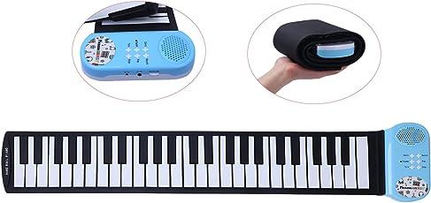 CAHAYA Roll Up Klavier Tragbare 49 Tasten Silicon Elektronische Tastatur Hand Aufrollen Klavier mit Eingebautem Lautsprecher für Kinder
