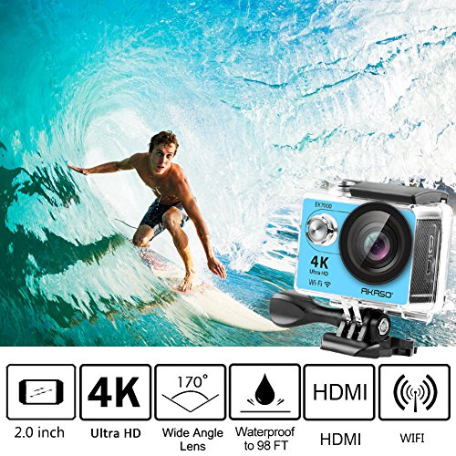 AKASO EK7000 4K Sport Action Camera Ultra HD Camcorder 12MP WiFi Waterproof Camera 170 Degree Wide View Angle 2 Inch LCD Screen W/2.4G Remote Control/2 Rechargeable Batteries/19 Accessories Kits - Blue