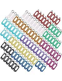 Porte Cles Etiquette, Yuccer Porte-clés avec étiquettes Etiquette Porte Nom Etiquette Clef Plastique (10 Couleurs, Paquet de 100)