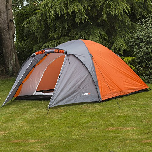 Adtrek Orange Double Skin Dome 4 Man Berth Camping Festival Family Tent