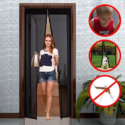 GIMARS Fliegengitter Tür Insektenschutz 90x210 cm / 100x220 cm / 110x220 cm Magnet Vorhang Fliegenvorhang Moskitonetz für Balkontür Wohnzimmer Terrassentür, Klebmontage ohne Bohren (110*220)
