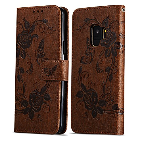 TOCASO Compatible with Samsung Galaxy S9 Hülle Replacement for Samsung Galaxy S9 Handyhülle Wallet Case Flip Case Leder- Rose Rot