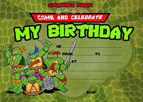 10x Ninja Turtle Geburtstag Party Einladungen mit 10Kostenlosen Umschlägen, 10 (Turtle Einladung Ninja)