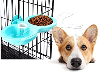 Pets Empire Pet Feeding Double Bowl Feeder Hanging Cat Dog Puppy Small Animal Food Dish Water Dinner Feeder Cage Bowl Automatic Drinking Bottle Dispenser Double Use (Large, Blue)