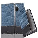 Cadorabo Hülle für Motorola Moto E4 Plus - Hülle in DUNKEL BLAU SCHWARZ – Handyhülle mit Standfunktion und Kartenfach im Stoff Design - Case Cover Schutzhülle Etui Tasche Book