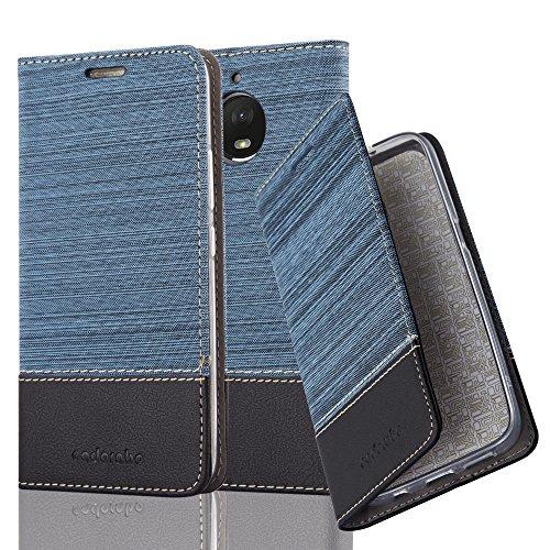 Cadorabo Hülle für Motorola Moto E4 Plus - Hülle in DUNKEL BLAU SCHWARZ - Handyhülle mit Standfunktion & Kartenfach im Stoff Design - Case Cover Schutzhülle Etui Tasche Book