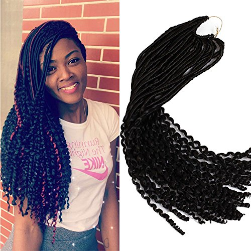 6Packs Curly Goddess Faux Locs Crochet Braids Synthetic Hair Extensions Dreadlock Wavy 22 Inch Soft Curly Fauxlocs Havana Mambo Twist Crochet Braided Locs Hair Extensions 24Roots100g (3 Zöpfe Göttin)