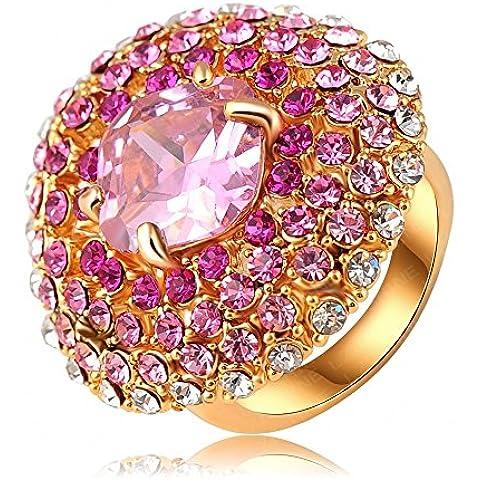 AnaZoz Joyería de Moda Flor 18K Chapado en Oro Redondo Anillo Cristal Austria SWA Elements Anillos de Mujer