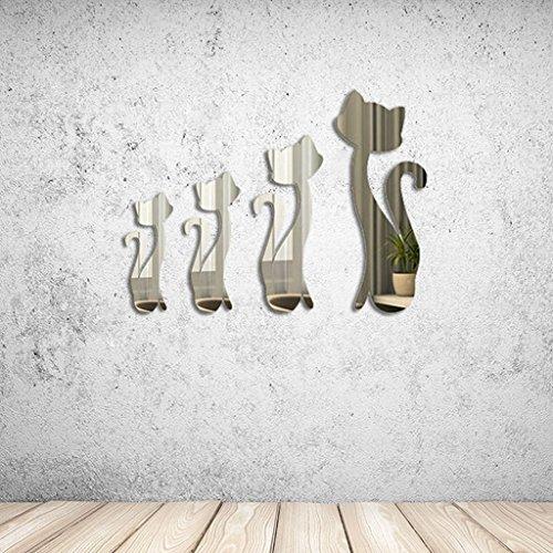 LQZ Spiegelsticker Spiegel Wandsticker Wandspiegel Wandaufkleber Wand Spiegel Kätzchen