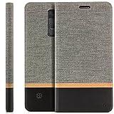 Zanasta Designs Tasche LG Stylus 2 Hülle Flip Case Schutzhülle Handytasche mit Kartenfach Grau