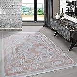 Carpetsale24 Modern designer hochwertige Acryl Teppiche für Wohnzimmer, Esszimmer, Schlafzimmer,kurzflor Barock fransig Teppich,mit modernen Farben Pink_8303, Maße:130x190 cm